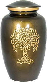 Hind Handicrafts Tree of Life Engraved Cremation Urn for Human Ashes Adult - Handcrafted Funeral Urn for Ashes - Large - 6.25'' x 6.25'' x 11'' - 200lbs or 91kg - Bag Included (Antique Copper)