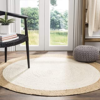 Safavieh Natural Fiber Collection NF801M Hand-Woven Ivory and Natural Jute Round Area Rug (6' in Diameter)