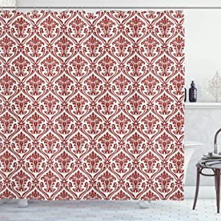 Ambesonne Damask Shower Curtain, Victorian Style Theme Creative Special Selection Matelasse Effect Home Decoration Modern Bathroom Art Decor Interior Digital Print Fabric, Red and White