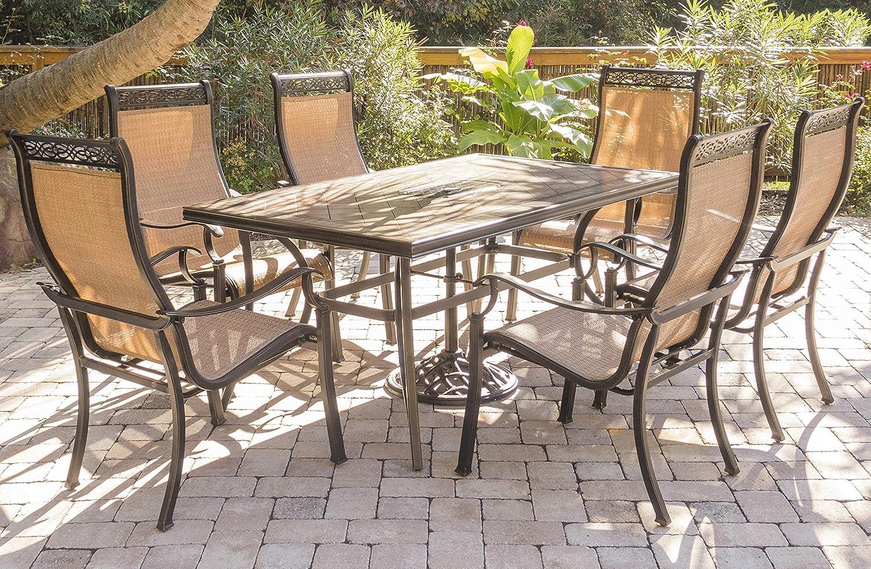 MONDN7PC-P MONDN7PC Monaco 7-Piece Rust-Free Aluminum Patio Dining Set Outdoor Furniture, Tan