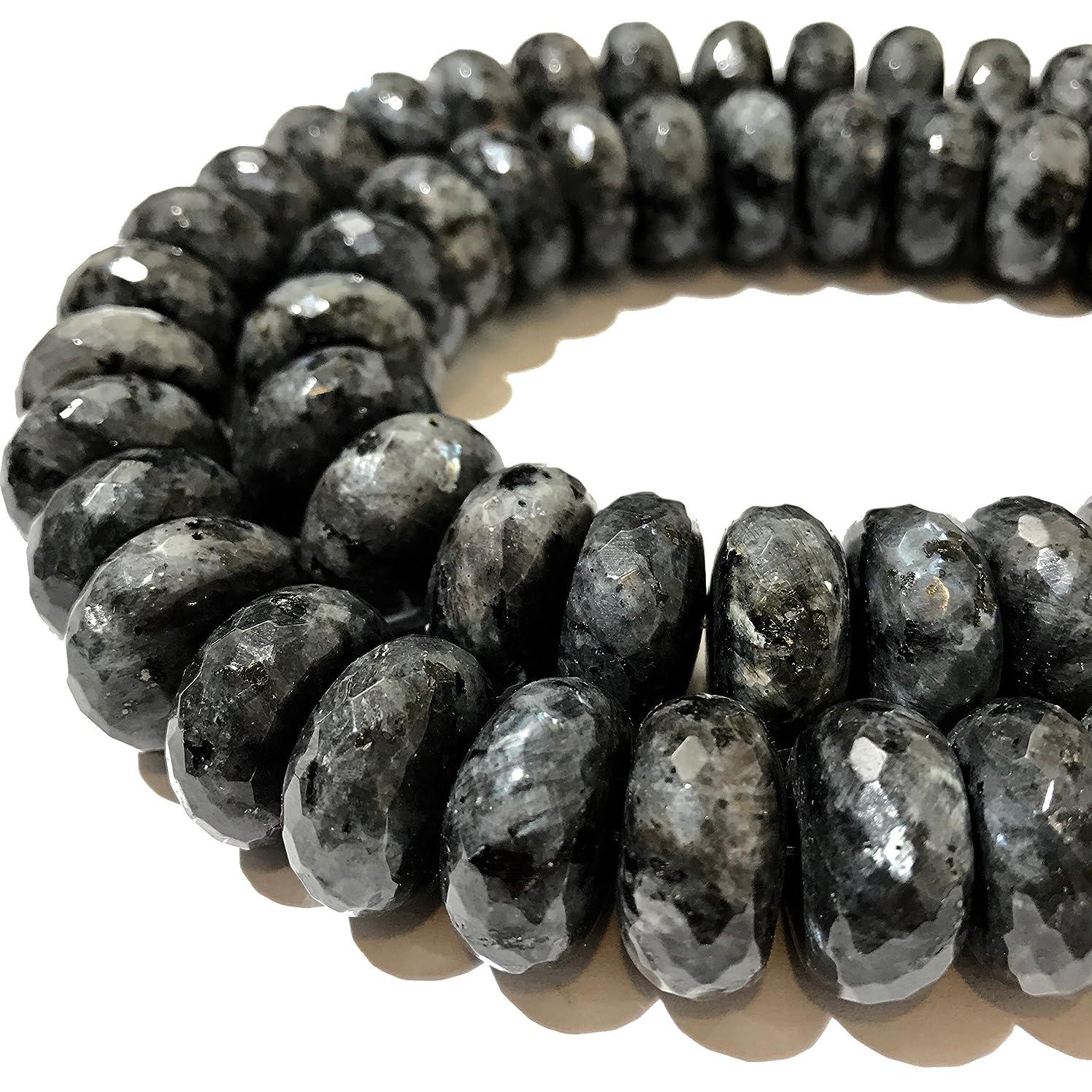 [ABCgems] Rare Norwegian Larvikite AKA Black Labradorite (Exquisite Pearly Gray Matrix) 16mm Faceted Rondelle Beads for Beading & Jewelry Making