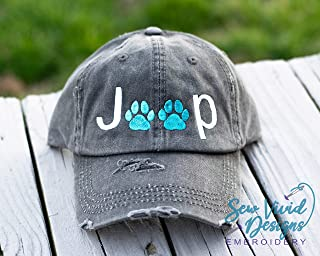 f689225b Jeep Paw Print Distressed High Ponytail Baseball or Trucker Cap, Jeep  Wrangler Hat for Dog