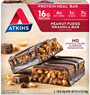 Atkins Peanut Fudge Granola Protein Meal Bar. Rich and Crunchy. Keto-Friendly. (5 Bars)
