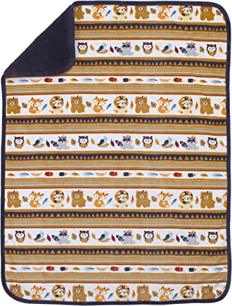 NoJo Aztec Forest Super Soft Double Sided Velboa/Sherpa Baby Blanket,  Navy,  Tan,  Orange,  Light Blue