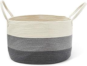 COLEYBEAR Decorative Woven Cotton Rope Basket, Three Toned (Off White, Grey, Dark Grey) Toy Storage Bin, Throw Blanket Sto...