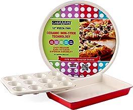 casaWare Conjunto de 3 peças de forno de torradeira antiaderente revestido de cerâmica (creme/vermelho)