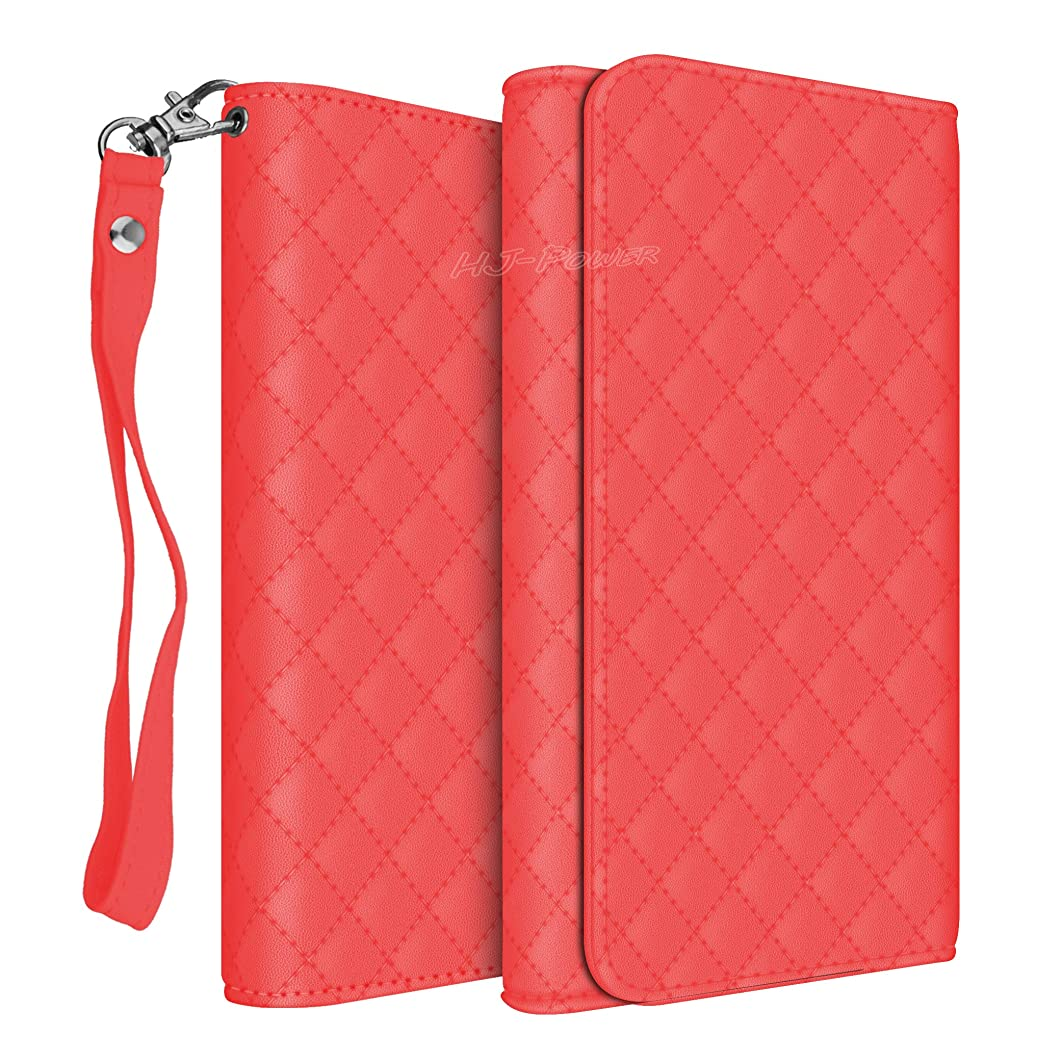 HJ Power[TM] CH5 Smart Phone Universal PU Leather Checker Style Wallet Pouch is Compatible with BLU G9 (Unlocked)- Red