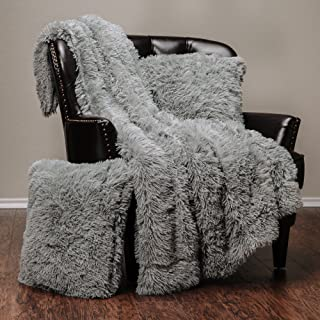 Chanasya 3-Piece Super Soft Shaggy Throw Blanket Pillow Cover Set - Chic Fuzzy Faux Fur Elegant Cozy Fleece Sherpa Throw (50x65) and Two Throw Pillow Covers (18x 18)- for Bed Couch Chair Sofa - Grey