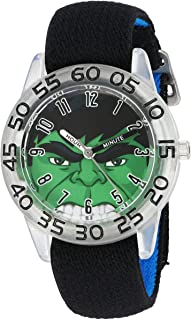Marvel Boy's 'Hulk' Quartz Plastic and Nylon  Watch, Color:Black (Model: W003258)