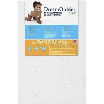 "Dream On Me, Sunset 3"" Extra Firm Fiber Portable Crib Mattress I Waterproof I Green Guard Gold Certified I 10 Years Manufacture Warranty I Vinyl Cover I Made In The U.S.A I Mini Crib Mattress"