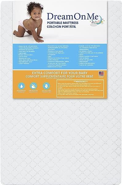Dream On Me 3 Extra Firm Portable Crib Mattress White