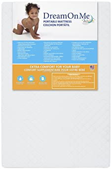 "Dream On Me, Holly 3"" Fiber Portable Crib Mattress I Waterproof I Green Guard  Gold Certified I 10 Years Manufacture ..."