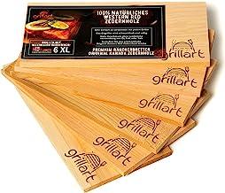6 Pack XL Grillbretter - Zedernholzbrett zum Grillen - Räucherbretter aus Zedernholz von grillart hergestellt aus 100% natürlichem Western Red Zedernholz für einen besonderen Grillgeschmack