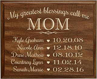 LifeSong Milestones Personalized Gifts for Mom with Family Established Year Wall Plaque with Children's Names and Birth Dates to Remember My Greatest Blessings Call me Mom (9x12, Walnut)