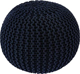 Redearth Hand Knitted Cotton Ottoman Cable Circular Pouf -Round footrest Poof Stool Accent pouffe seat for Living Room, Bedroom, Nursery, kidsroom, Patio, Lounge, gym100% Cotton (20x20x14; Navy)