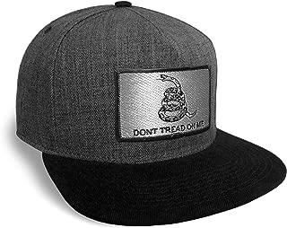 Don't Tread On Me Flag Black and Charcoal Baseball Cap Hat Snapback Flat Brim