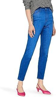 EU 46 Vita Media ex High Street Jeans Skinny da Donna Elasticizzati con Tasche e Orlo con Bottoni