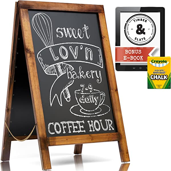 Handcrafted A Frame Chalkboard Sign Unique Dark Walnut Stain Designed To Add A Rustic Touch To Your Wedding Restaurant Magnetic Steel Extra Large 40 X 22 Heavy Duty Outdoor Sandwich Board