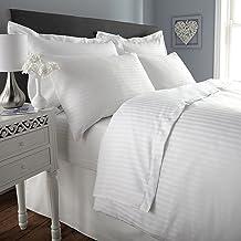 Hotel Linen 250TC Cotton 1cm Sateen Stripe White Twin Size 100x200 cm Fitted Sheet 1pc