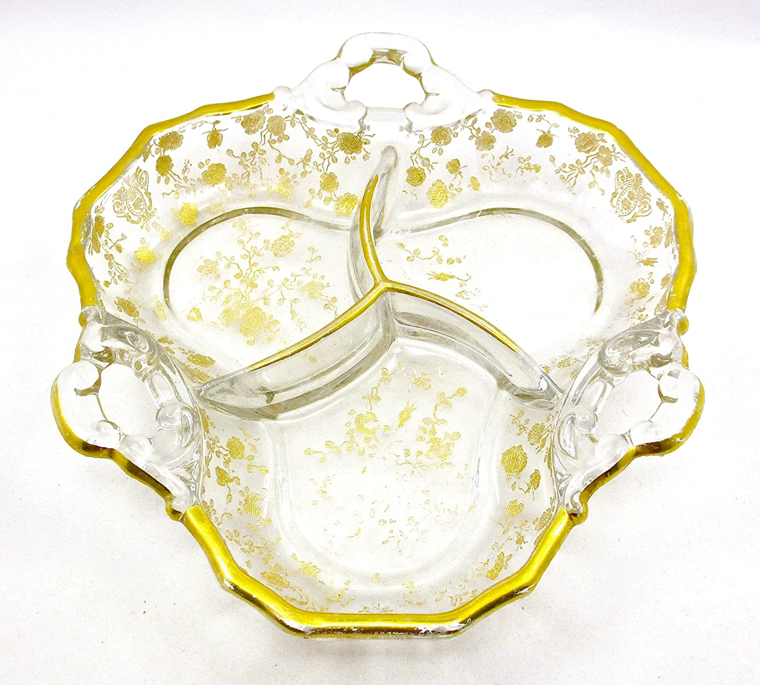 Gold Flower All stores are sold Candy Max 63% OFF Dish Vintage flowered handles Paint gold