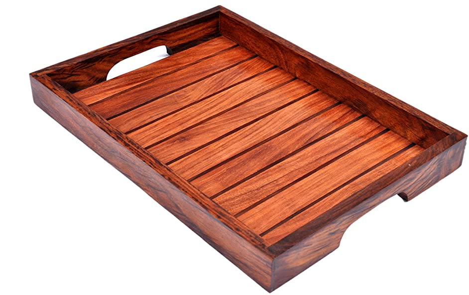 Patio Serving Tray – Wood Tray India –Patio Trays with Handles – Rosewood Dish Set – Sheesham Wood Coffee Table Set – Stylish Serving Tray Set – Multiple Indian Rosewood Buffet