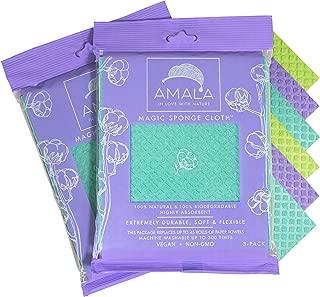 Magic Sponge Cloth by Amala, (6-Pack), 100% Natural, Dish Cloth, Highly Absorbant, 100% Vegan, Non-GMO