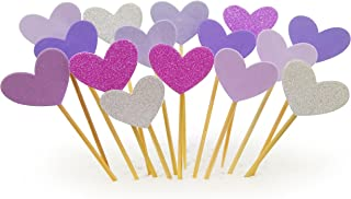 Cupcake Toppers 30Pcs Set, GUCUJI Funny Purple Heart DIY Glitter Mini Birthday Cake Snack Decorations Picks Suppliers Party Accessories for Wedding and Baby Shower