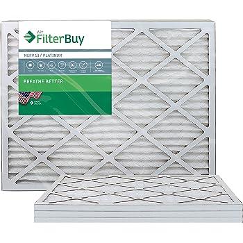 FilterBuy 16x20x1 MERV 13 Pleated AC Furnace Air Filter, Pack of 2 Filters Platinum 16x20x1