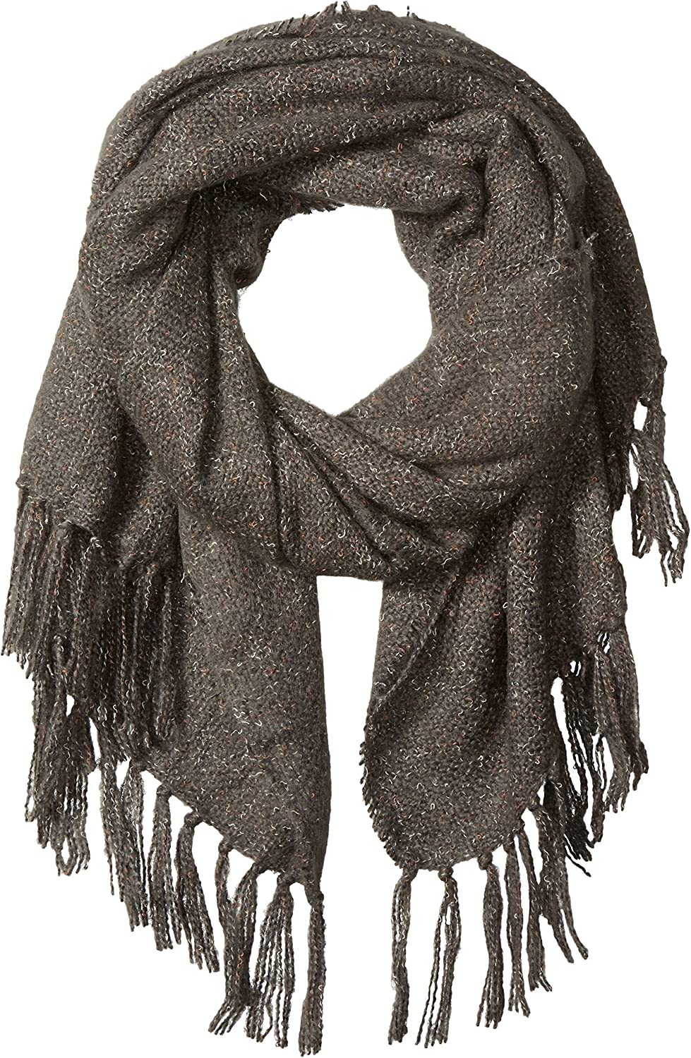 D&Y Women's Solid Woven Oblong Scarf with Fringe Trim