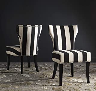 Safavieh Mercer Collection Jappic Black & White Stripe Side Chair (Set of 2), 22