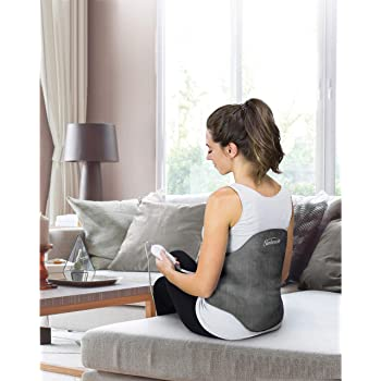Sunbeam Heating Pad Back Wrap with Adjustable Strap   Contoured for Back Pain Relief   4 Heat Settings with 2 Hour Auto Off   23 x 15 Inch, Slate Grey