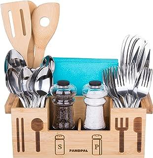 Bamboo Wooden Utensil Caddy Flatware - Holder for Spoons, Knives, Forks, Chopsticks, Salt Pepper Shakers, Napkins, Condiments, Spices, Silverware Drawer Organizer Home, Restaurant, Camper