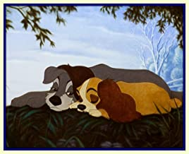 Treasure Chest Shoppe Happy Couple Walt Disney Lady and the Tramp in Love 11x14 Double Matted Romantic Fine Art Print 8x10 Premium Giclee Print Walt Disney Collection