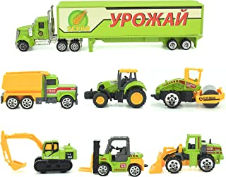 Jellydog Toy Construction Trucks , Construction Vehicles Set,Metal Die Cast Toy Set,Dumper,Bulldozers,Forklift,Tank Truck,Asphalt Car and Excavator 6 Set ,1 Farm Truck ,Toy for Kids
