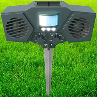 PestZilla 1 Powerful Solar Ultrasound with Flashing LED Lights Outdoor, Green