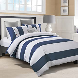 Superior Addison 100% Cotton, Stripe Duvet Cover with White Waffle Weave and Navy Blue Chambray with 1 Pillow Sham Bedding Set - Twin/Twin XL