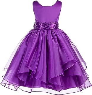 Asymmetric Ruffled Organza Sequin Flower Girl Dress Toddler Girl Dresses 012S