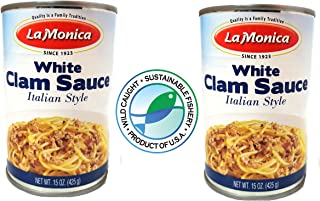 LaMonica WHITE CLAM SAUCE Product of the USA. 2 Cans Delicious!
