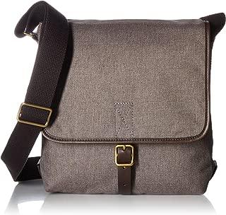 Fossil Men's Buckner Leather Trim City Bag, Grey/Dark Brown, One Size