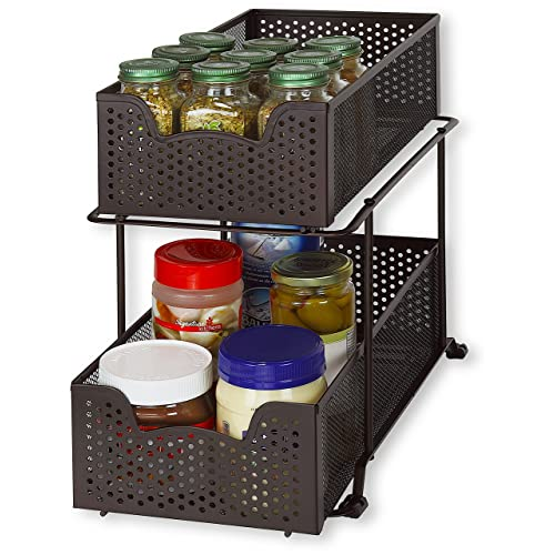 Beau Simple Houseware 2 Tier Sliding Cabinet Basket Organizer Drawer, Bronze