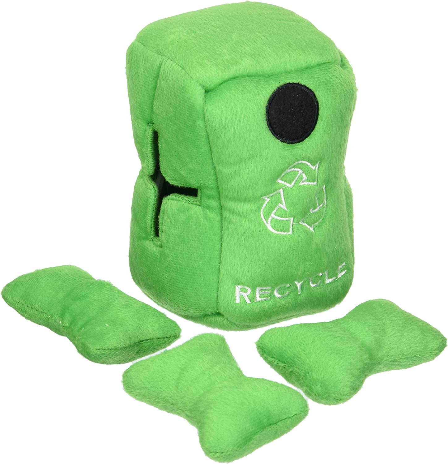 Digit' Stuffable Recycle Bin Plush Toy, Interactive Hide and Seek for Small Dogs, 4piece  6  Recycle Bin