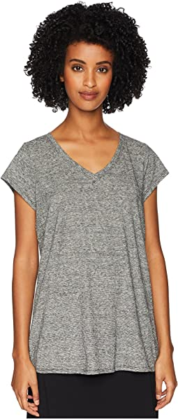 Hemp Organic Cotton Mini Stripe V-Neck Cap Sleeve Tee