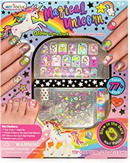 Hot Focus Magical Unicorn Glow in the Dark Nail Art Kit 77 Pieces - Glow in the Dark Unicorn and Rainbow Nail Patches, Nai...
