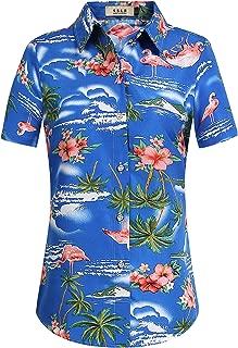 SSLR Women's Flamingos Floral Casual Short Sleeve Hawaiian Shirt