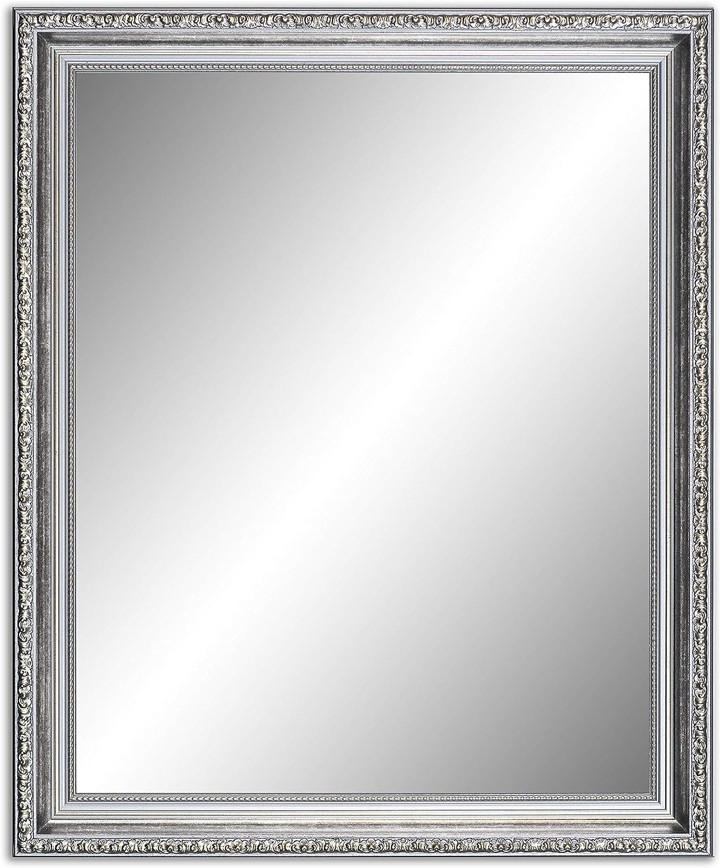 120 x 80 cm (117 x 77 cm), Antik Spiegel, Alte Spiegel, Stabiler Rückwand, Rahmen Farbe  Silber - Gold