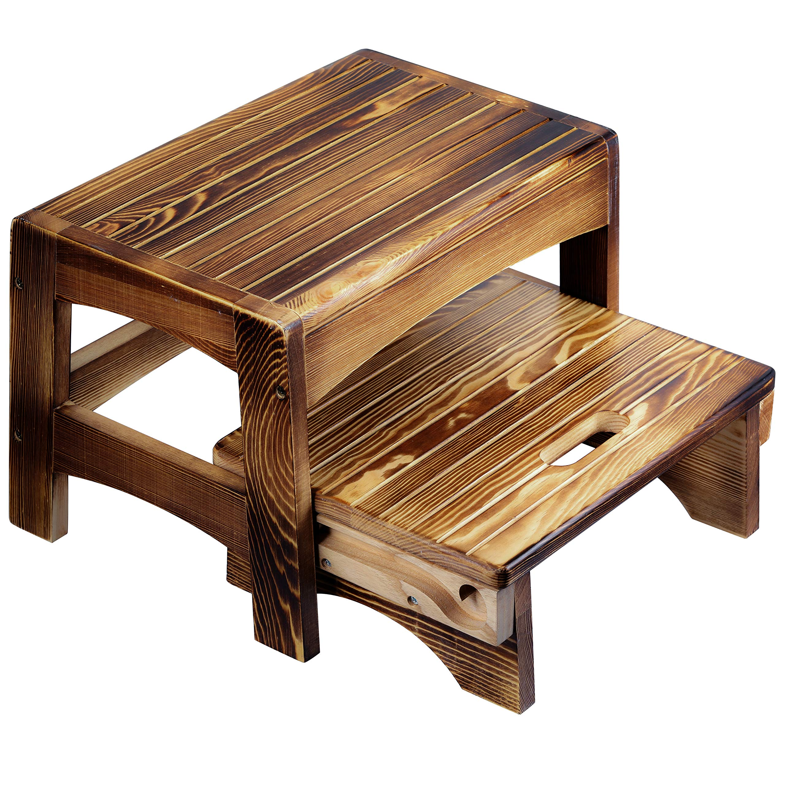 Amazon Com Urforestic Handcrafted 100 Solid Wood Bed Step Stool Foot Stool Kitchen Stools Bed Steps Small Step Ladder Bathroom Stools Burned Kitchen Dining