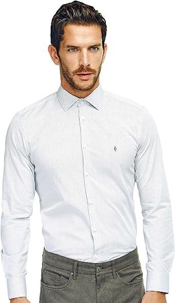 Caramelo, Camisa Slim Cuello Italiano, Hombre · Rojo Intenso ...