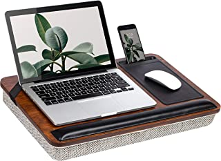 Rossie Home Premium Bamboo Lap Desk with Wrist Rest, Mouse Pad, and Phone Holder - Fits Up to 15.6 Inch Laptops - Espresso...