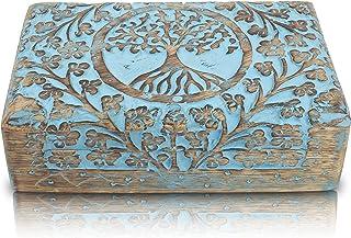 Great Birthday Gifts Handmade Decorative Wooden Jewelry Box Tree Of Life Carving Jewelry Organizer Keepsake Box Treasure C...