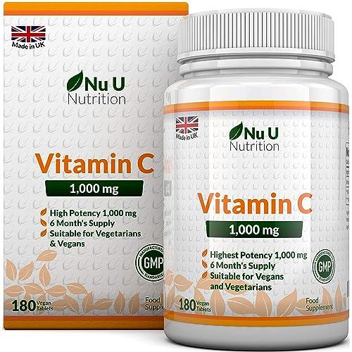 Vitamina C | 1000 mg - 180 Comprimidos (Suministro para 6 Meses) | Complemento